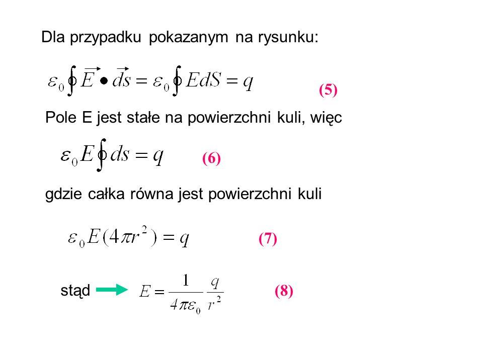 Dla przypadku pokazanym na rysunku: Pole E jest stałe na powierzchni kuli, więc gdzie całka równa jest powierzchni kuli stąd (5) (6) (7) (8)