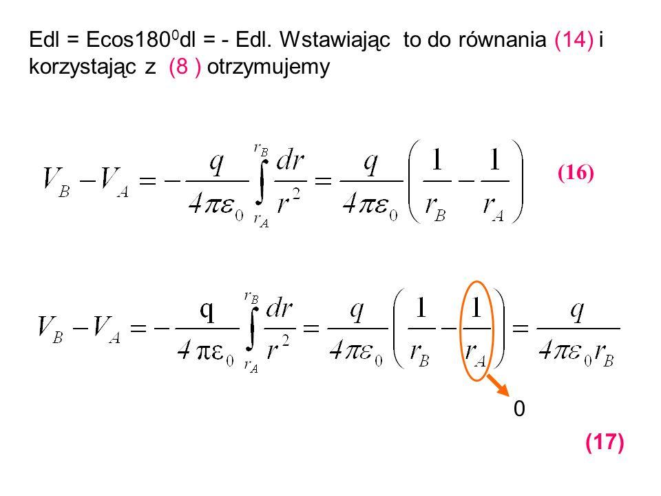 Edl = Ecos180 0 dl = - Edl. Wstawiając to do równania (14) i korzystając z (8 ) otrzymujemy (16) 0 (17)