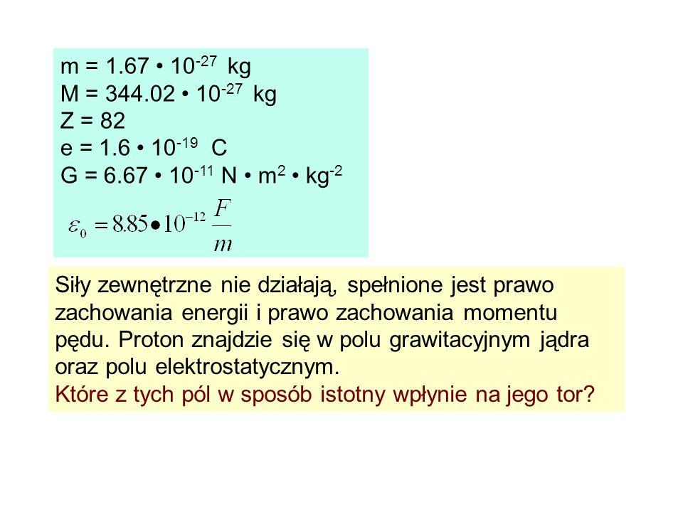 m = 1.67 10 -27 kg M = 344.02 10 -27 kg Z = 82 e = 1.6 10 -19 C G = 6.67 10 -11 N m 2 kg -2 Siły zewnętrzne nie działają, spełnione jest prawo zachowa