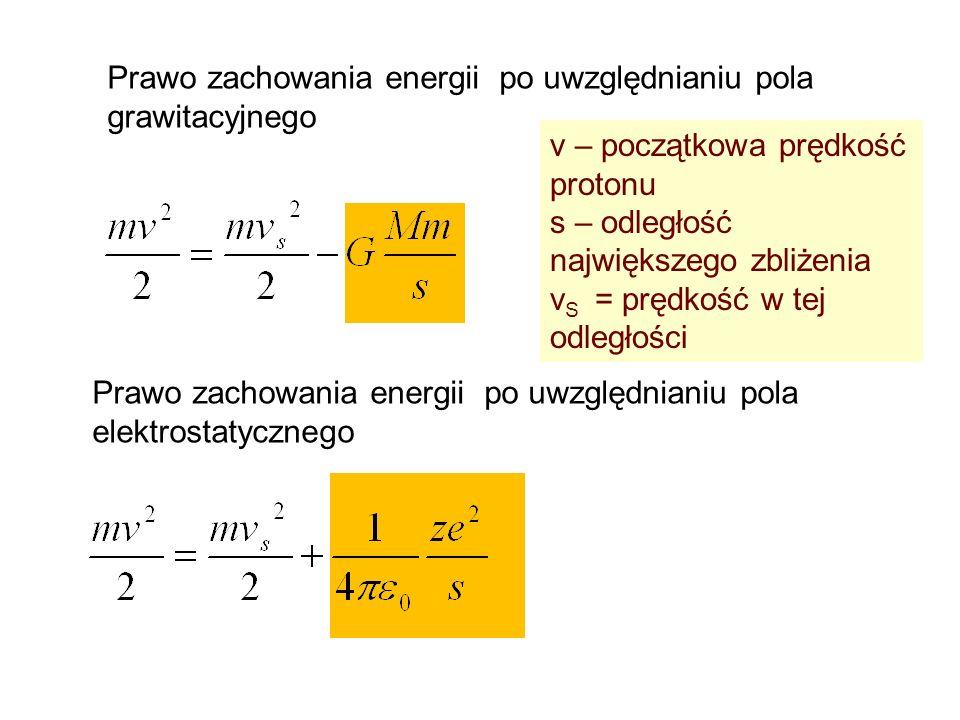 Prawo zachowania energii po uwzględnianiu pola grawitacyjnego v – początkowa prędkość protonu s – odległość największego zbliżenia v S = prędkość w te