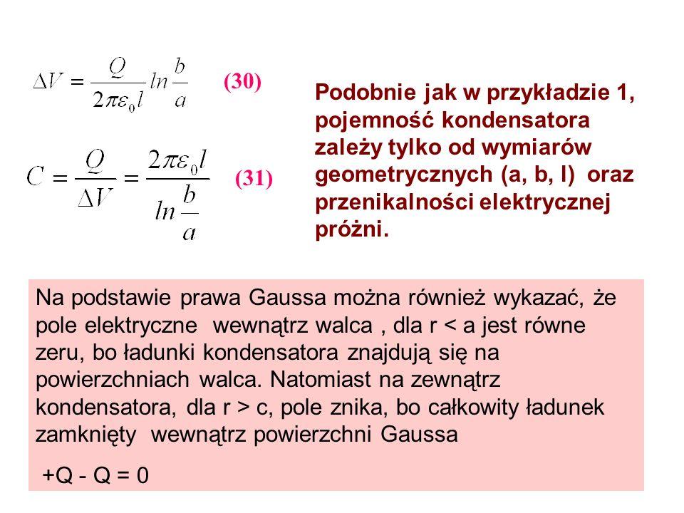 Podobnie jak w przykładzie 1, pojemność kondensatora zależy tylko od wymiarów geometrycznych (a, b, l) oraz przenikalności elektrycznej próżni. Na pod