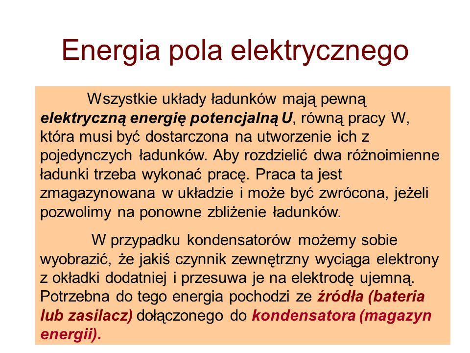 Energia pola elektrycznego Wszystkie układy ładunków mają pewną elektryczną energię potencjalną U, równą pracy W, która musi być dostarczona na utworz