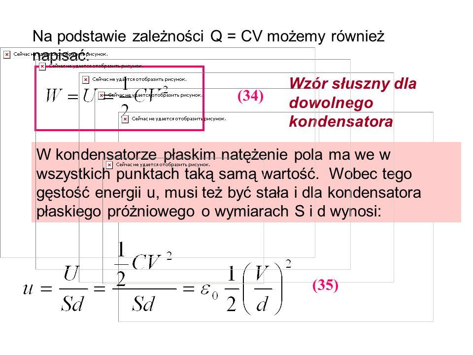 Na podstawie zależności Q = CV możemy również napisać: (34) Wzór słuszny dla dowolnego kondensatora W kondensatorze płaskim natężenie pola ma we w wsz