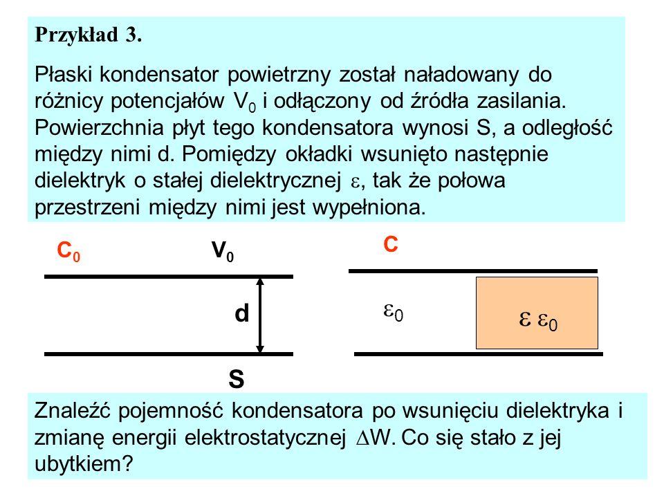 Przykład 3. Płaski kondensator powietrzny został naładowany do różnicy potencjałów V 0 i odłączony od źródła zasilania. Powierzchnia płyt tego kondens