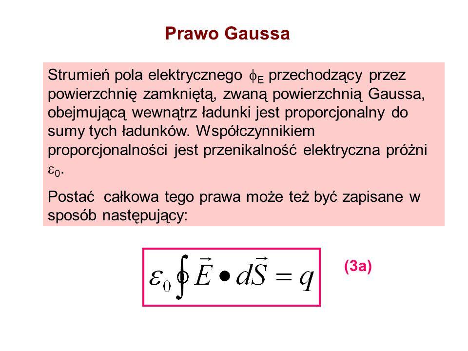 Strumień pola elektrycznego E przechodzący przez powierzchnię zamkniętą, zwaną powierzchnią Gaussa, obejmującą wewnątrz ładunki jest proporcjonalny do