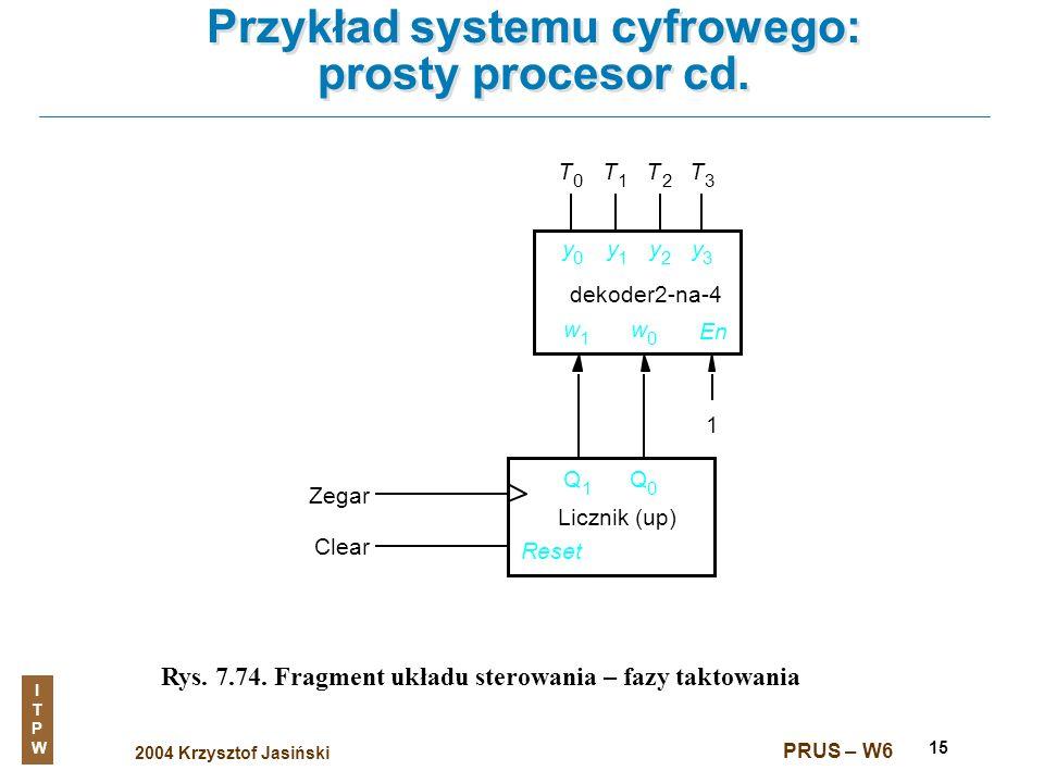 2004 Krzysztof Jasiński ITPWITPW PRUS – W6 15 Przykład systemu cyfrowego: prosty procesor cd. Rys. 7.74. Fragment układu sterowania – fazy taktowania
