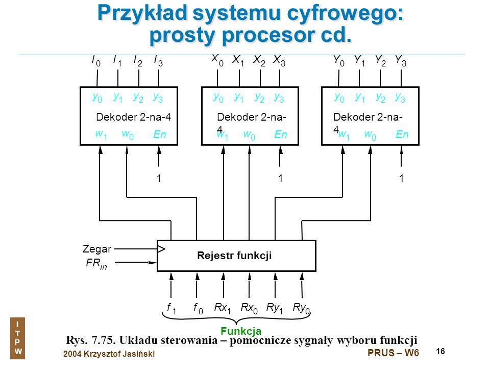 2004 Krzysztof Jasiński ITPWITPW PRUS – W6 16 Przykład systemu cyfrowego: prosty procesor cd. Rys. 7.75. Układu sterowania – pomocnicze sygnały wyboru