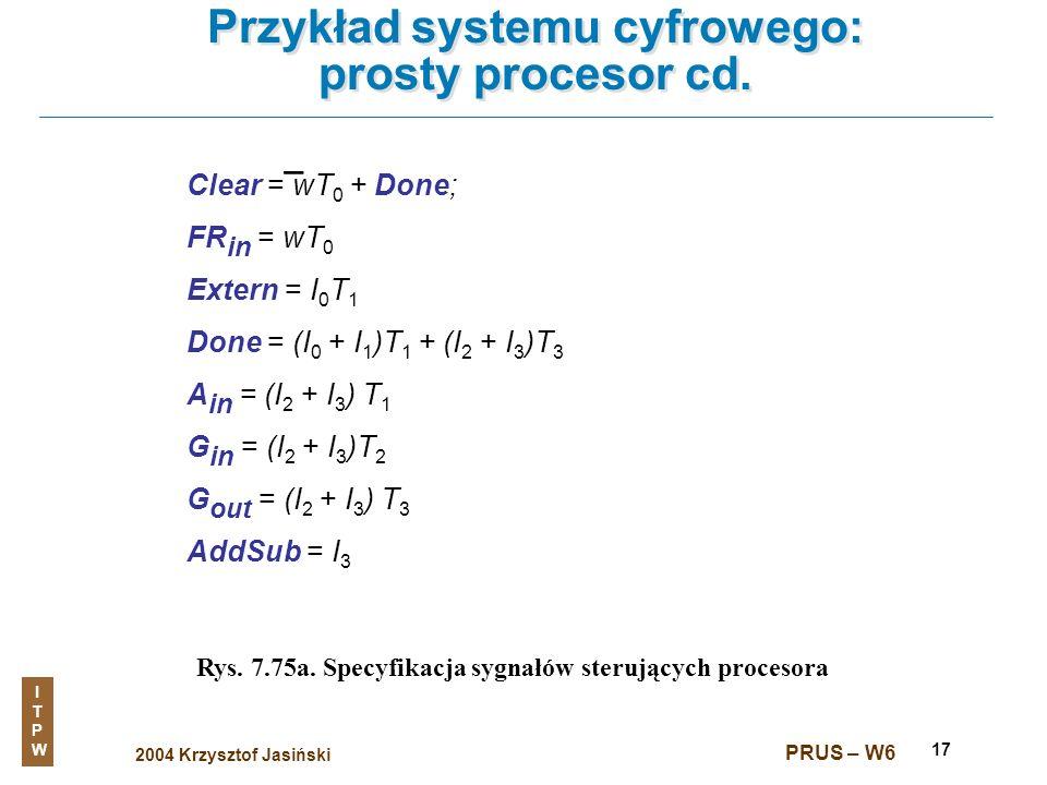 2004 Krzysztof Jasiński ITPWITPW PRUS – W6 17 Przykład systemu cyfrowego: prosty procesor cd. Rys. 7.75a. Specyfikacja sygnałów sterujących procesora