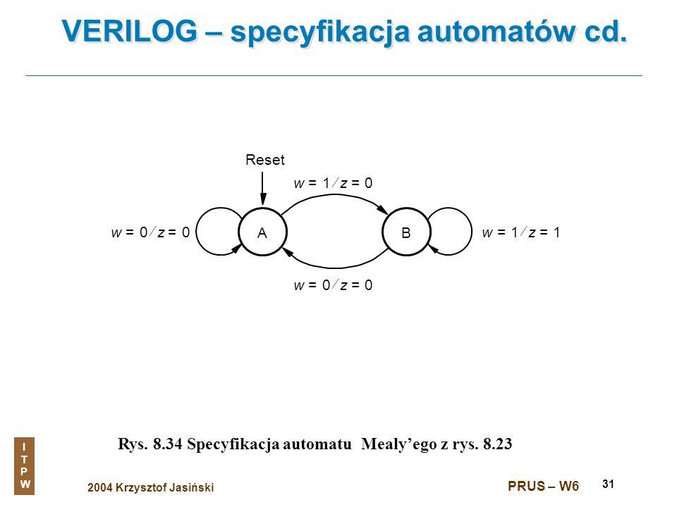 2004 Krzysztof Jasiński ITPWITPW PRUS – W6 31 VERILOG – specyfikacja automatów cd. Rys. 8.34 Specyfikacja automatu Mealyego z rys. 8.23 A w0=z0= w1=z1