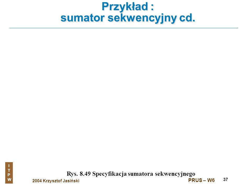 2004 Krzysztof Jasiński ITPWITPW PRUS – W6 37 Rys. 8.49 Specyfikacja sumatora sekwencyjnego Przykład : sumator sekwencyjny cd.
