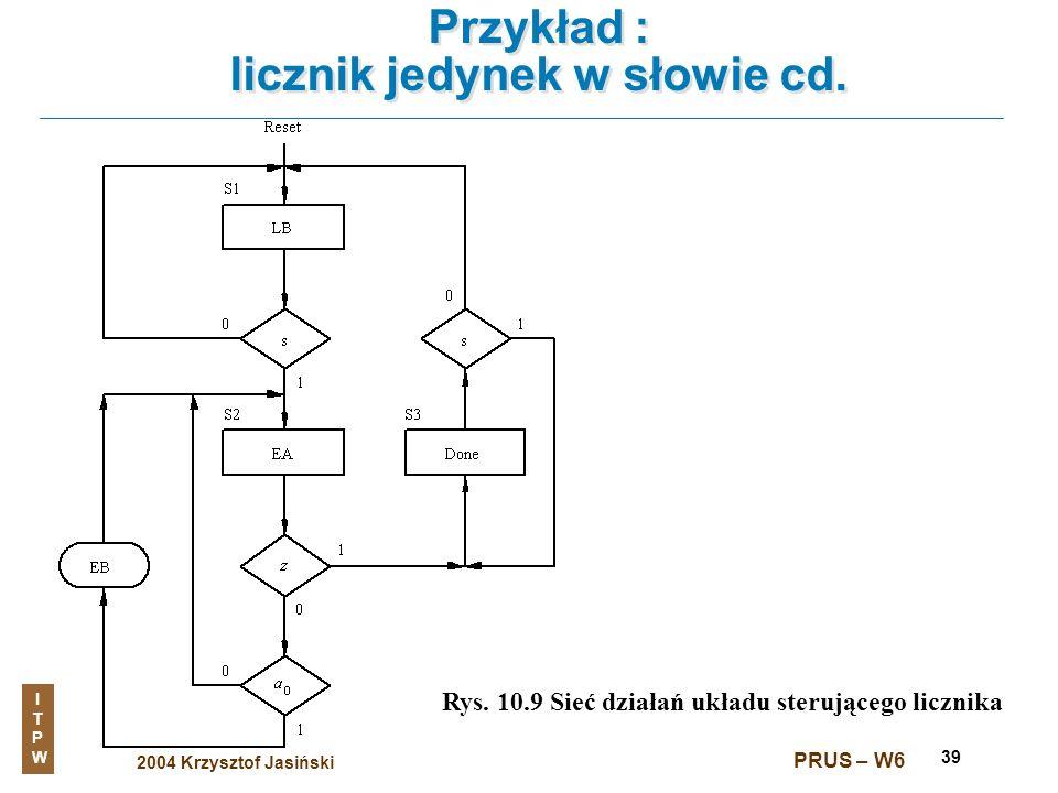 2004 Krzysztof Jasiński ITPWITPW PRUS – W6 39 Przykład : licznik jedynek w słowie cd. Rys. 10.9 Sieć działań układu sterującego licznika