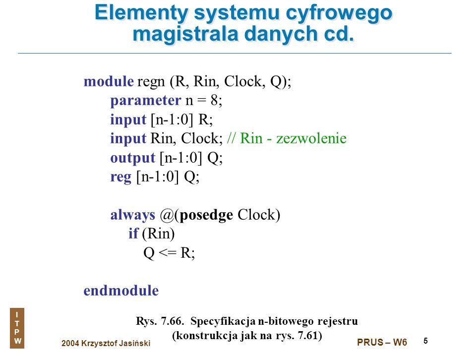 2004 Krzysztof Jasiński ITPWITPW PRUS – W6 5 Elementy systemu cyfrowego magistrala danych cd. Rys. 7.66. Specyfikacja n-bitowego rejestru (konstrukcja