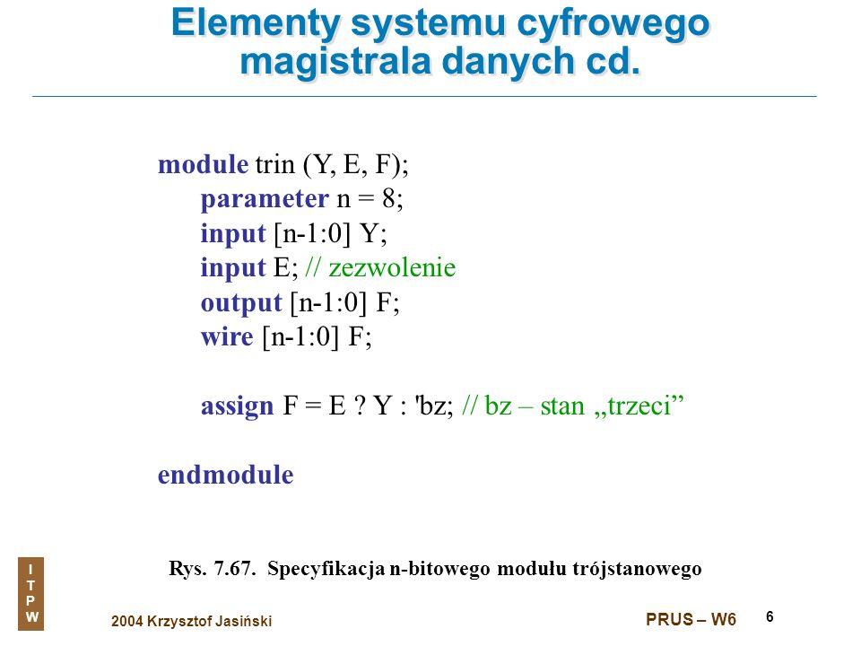 2004 Krzysztof Jasiński ITPWITPW PRUS – W6 6 Elementy systemu cyfrowego magistrala danych cd. Rys. 7.67. Specyfikacja n-bitowego modułu trójstanowego