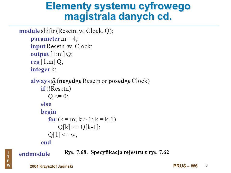 2004 Krzysztof Jasiński ITPWITPW PRUS – W6 8 Elementy systemu cyfrowego magistrala danych cd. Rys. 7.68. Specyfikacja rejestru z rys. 7.62 module shif