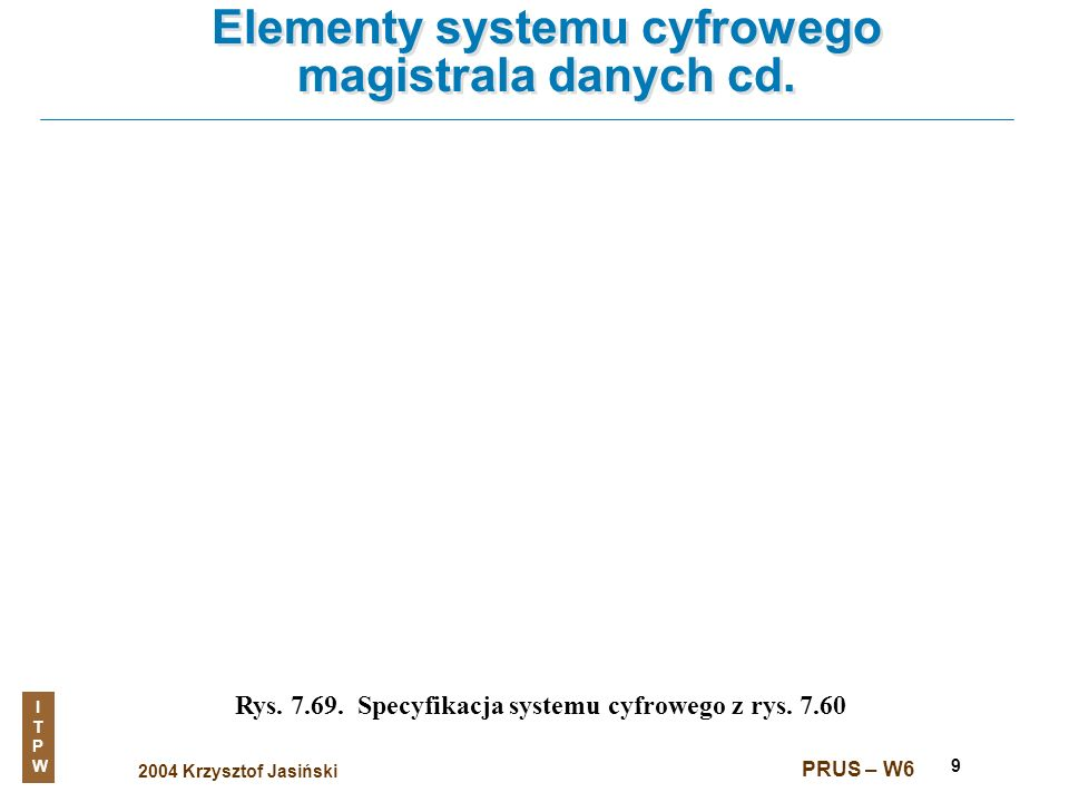 2004 Krzysztof Jasiński ITPWITPW PRUS – W6 9 Elementy systemu cyfrowego magistrala danych cd. Rys. 7.69. Specyfikacja systemu cyfrowego z rys. 7.60