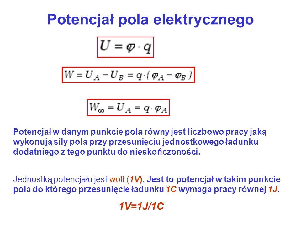 Potencjał pola elektrycznego Potencjał w danym punkcie pola równy jest liczbowo pracy jaką wykonują siły pola przy przesunięciu jednostkowego ładunku dodatniego z tego punktu do nieskończoności.