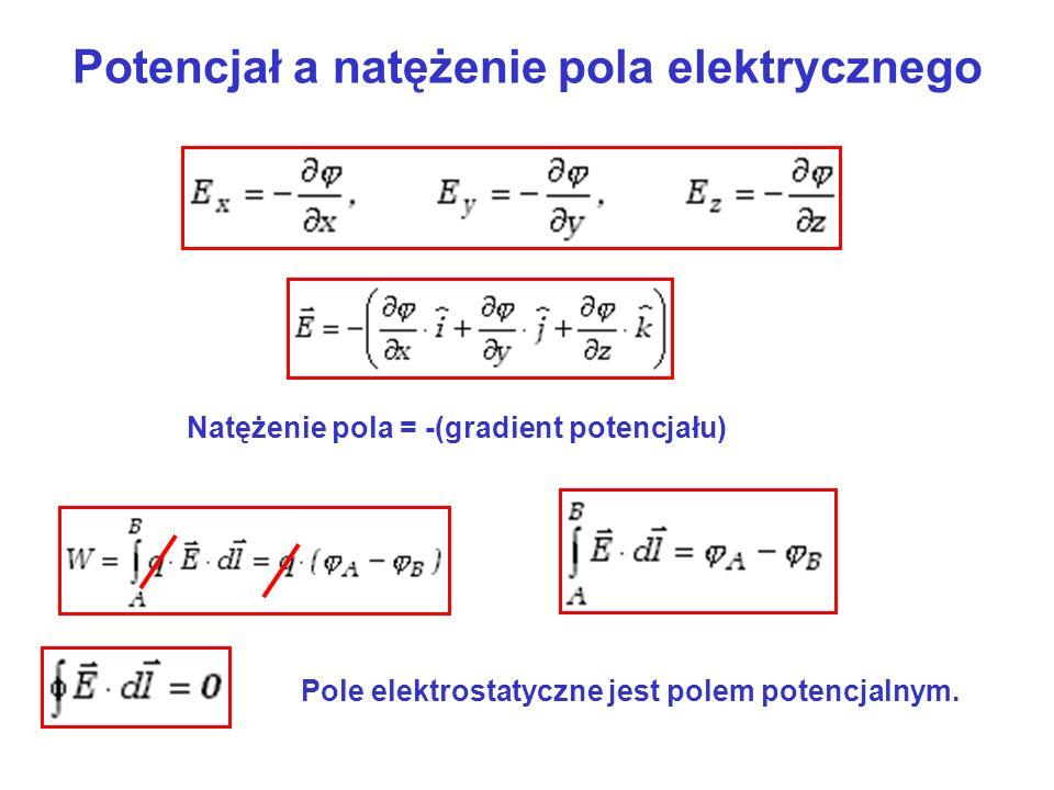 Potencjał a natężenie pola elektrycznego Natężenie pola = -(gradient potencjału) Pole elektrostatyczne jest polem potencjalnym.