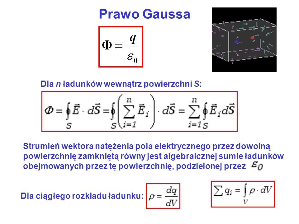 Prawo Gaussa Strumień wektora natężenia pola elektrycznego przez dowolną powierzchnię zamkniętą równy jest algebraicznej sumie ładunków obejmowanych przez tę powierzchnię, podzielonej przez Dla ciągłego rozkładu ładunku: Dla n ładunków wewnątrz powierzchni S: