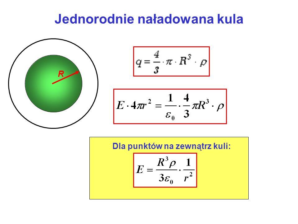 Jednorodnie naładowana kula R Dla punktów na zewnątrz kuli: