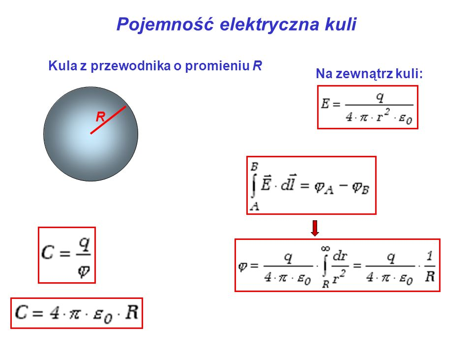 Pojemność elektryczna kuli R Kula z przewodnika o promieniu R Na zewnątrz kuli: