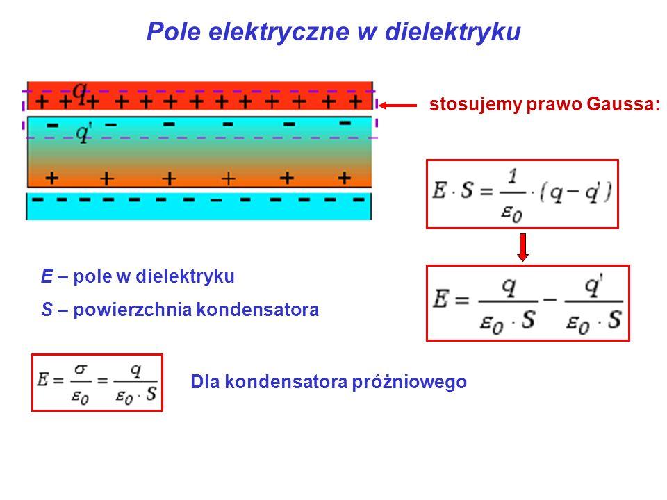 Pole elektryczne w dielektryku stosujemy prawo Gaussa: E – pole w dielektryku S – powierzchnia kondensatora Dla kondensatora próżniowego