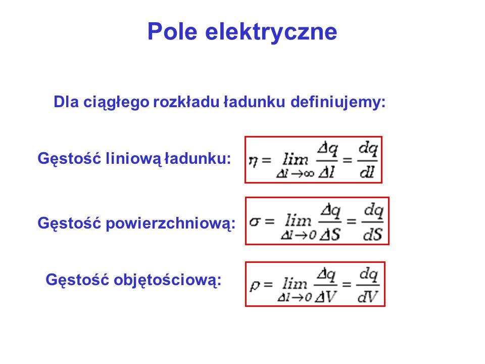 Pole elektryczne Dla ciągłego rozkładu ładunku definiujemy: Gęstość liniową ładunku: Gęstość powierzchniową: Gęstość objętościową: