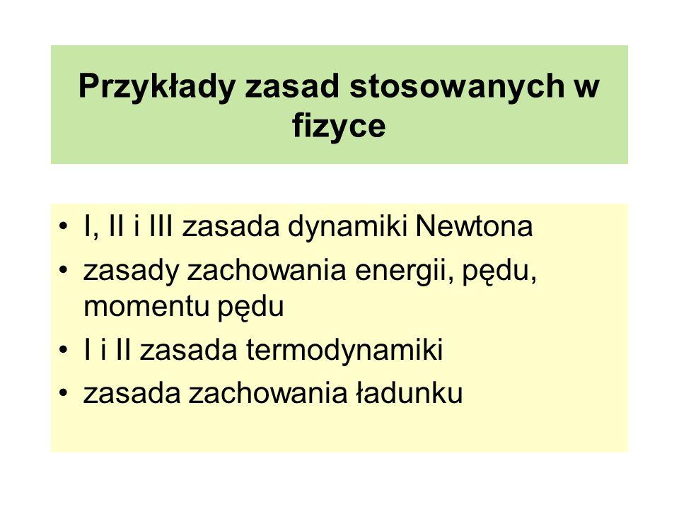 Przykłady zasad stosowanych w fizyce I, II i III zasada dynamiki Newtona zasady zachowania energii, pędu, momentu pędu I i II zasada termodynamiki zas