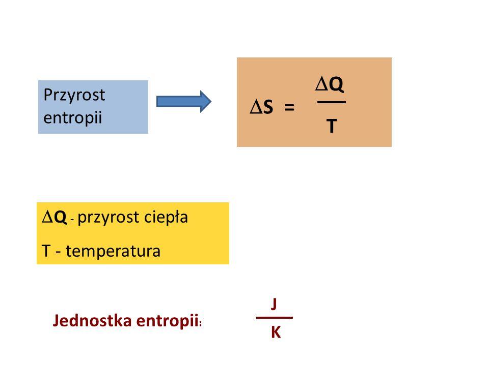 S = Q T Przyrost entropii Q - przyrost ciepła T - temperatura Jednostka entropii : J K