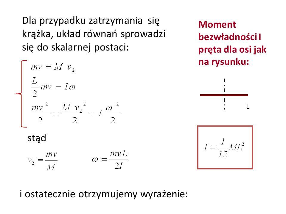 stąd Moment bezwładności I pręta dla osi jak na rysunku: L i ostatecznie otrzymujemy wyrażenie: Dla przypadku zatrzymania się krążka, układ równań spr