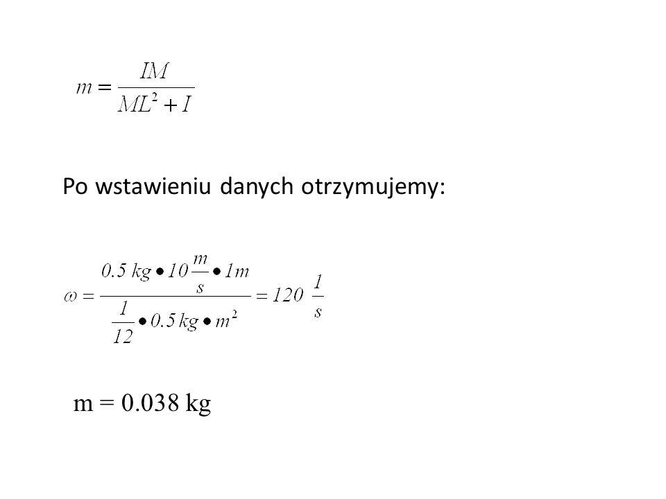 Po wstawieniu danych otrzymujemy: m = 0.038 kg