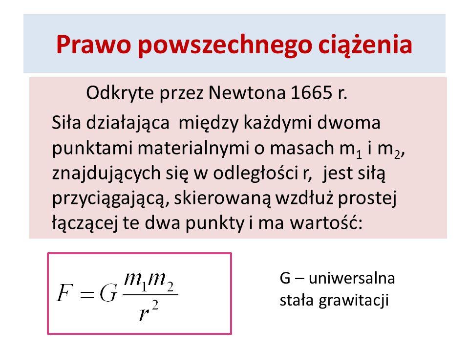 Prawo powszechnego ciążenia Odkryte przez Newtona 1665 r. Siła działająca między każdymi dwoma punktami materialnymi o masach m 1 i m 2, znajdujących