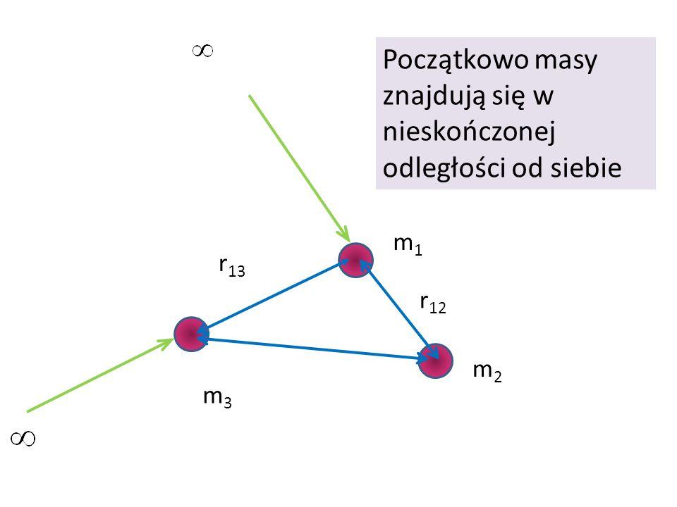 m2m2 m3m3 r 13 r 12 m1m1 Początkowo masy znajdują się w nieskończonej odległości od siebie
