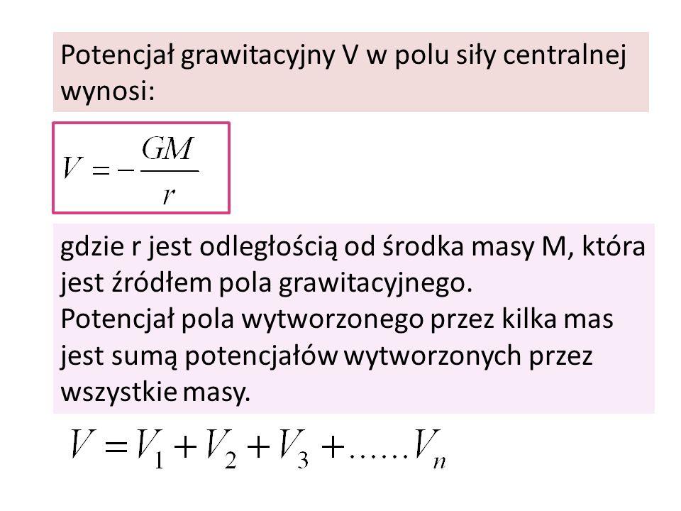 Potencjał grawitacyjny V w polu siły centralnej wynosi: gdzie r jest odległością od środka masy M, która jest źródłem pola grawitacyjnego. Potencjał p