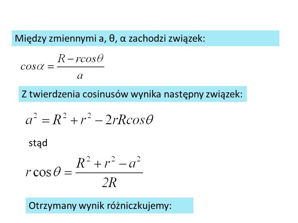 Między zmiennymi a, θ, α zachodzi związek: Z twierdzenia cosinusów wynika następny związek: stąd Otrzymany wynik różniczkujemy: