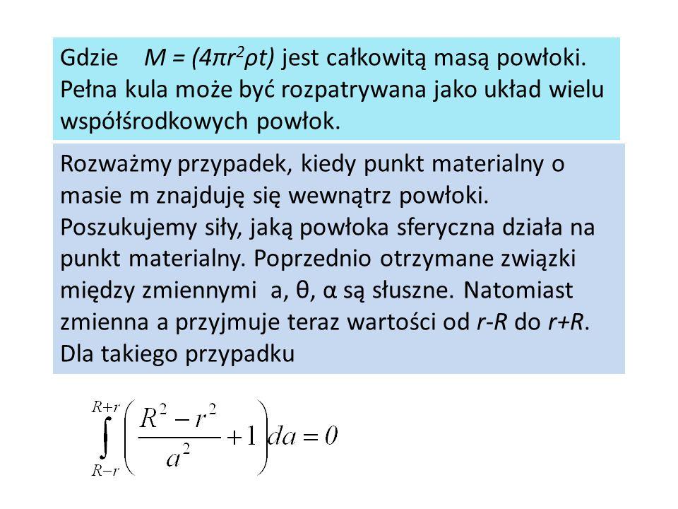 Gdzie M = (4πr 2 ρt) jest całkowitą masą powłoki. Pełna kula może być rozpatrywana jako układ wielu współśrodkowych powłok. Rozważmy przypadek, kiedy