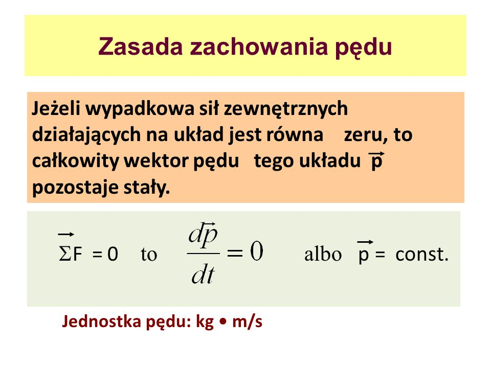 Zasada zachowania pędu Jeżeli wypadkowa sił zewnętrznych działających na układ jest równa zeru, to całkowity wektor pędu tego układu p pozostaje stały