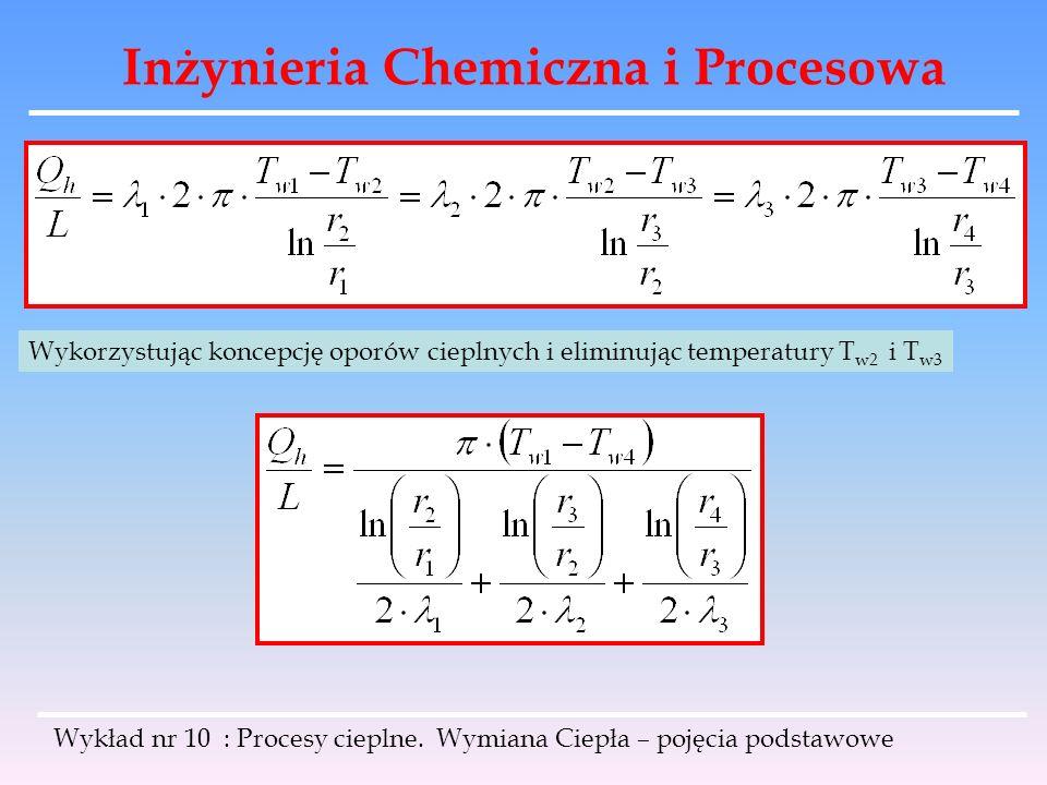 Inżynieria Chemiczna i Procesowa Wykład nr 10 : Procesy cieplne. Wymiana Ciepła – pojęcia podstawowe Wykorzystując koncepcję oporów cieplnych i elimin