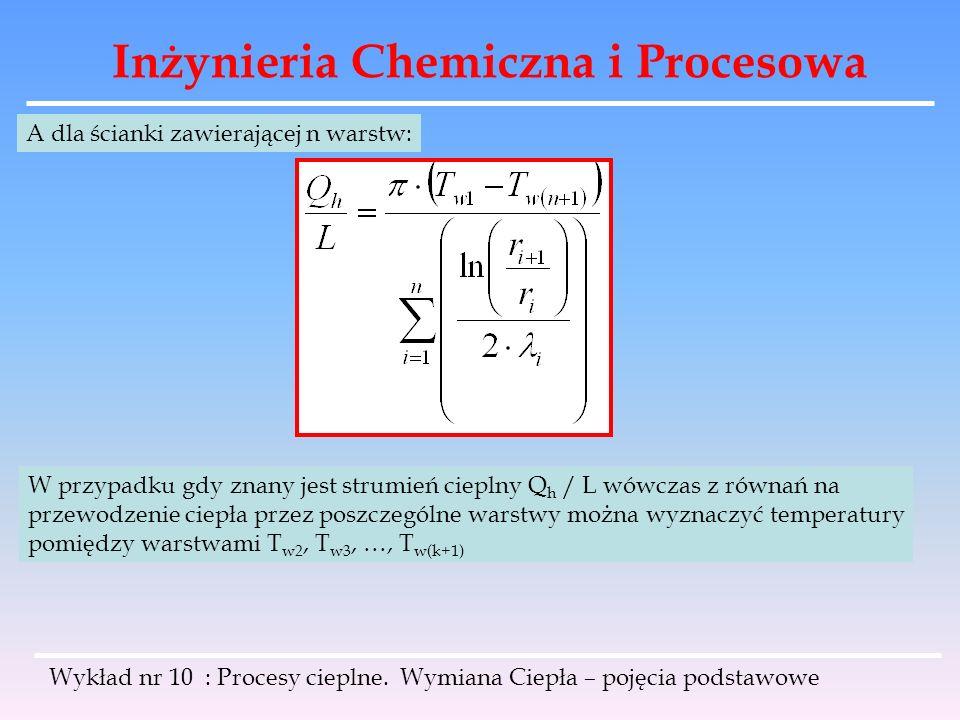 Inżynieria Chemiczna i Procesowa Wykład nr 10 : Procesy cieplne. Wymiana Ciepła – pojęcia podstawowe A dla ścianki zawierającej n warstw: W przypadku