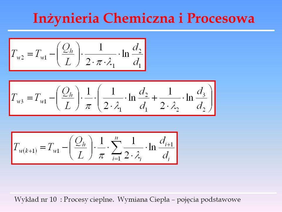Inżynieria Chemiczna i Procesowa Wykład nr 10 : Procesy cieplne. Wymiana Ciepła – pojęcia podstawowe