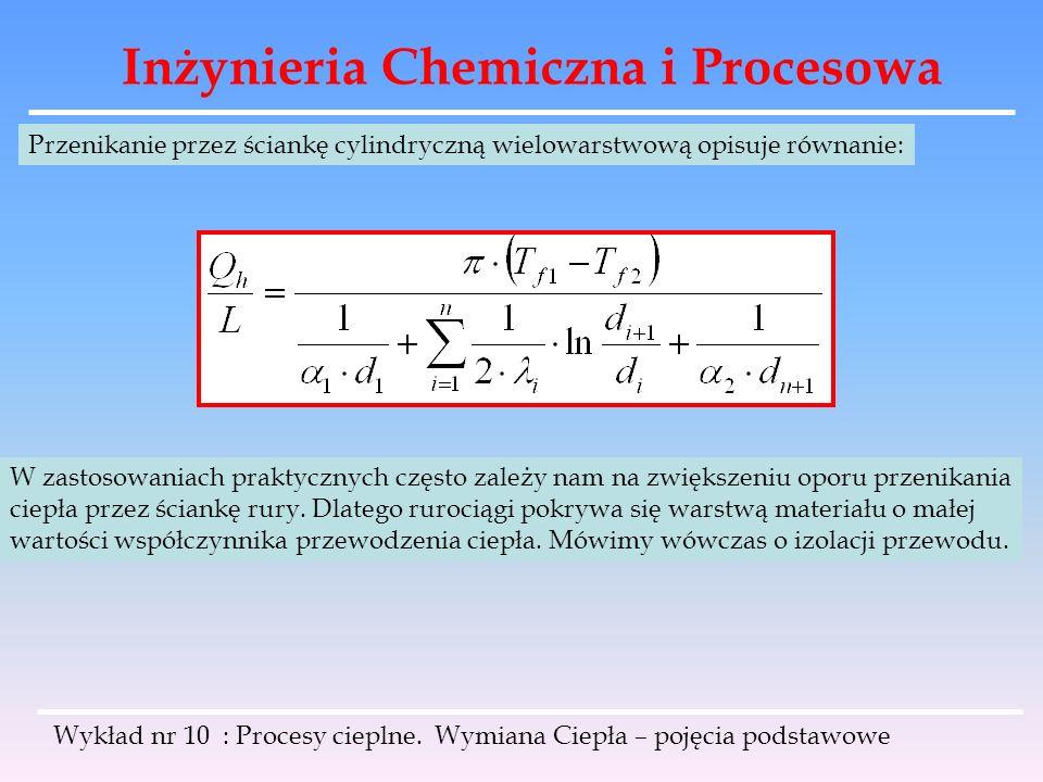 Inżynieria Chemiczna i Procesowa Wykład nr 10 : Procesy cieplne. Wymiana Ciepła – pojęcia podstawowe Przenikanie przez ściankę cylindryczną wielowarst