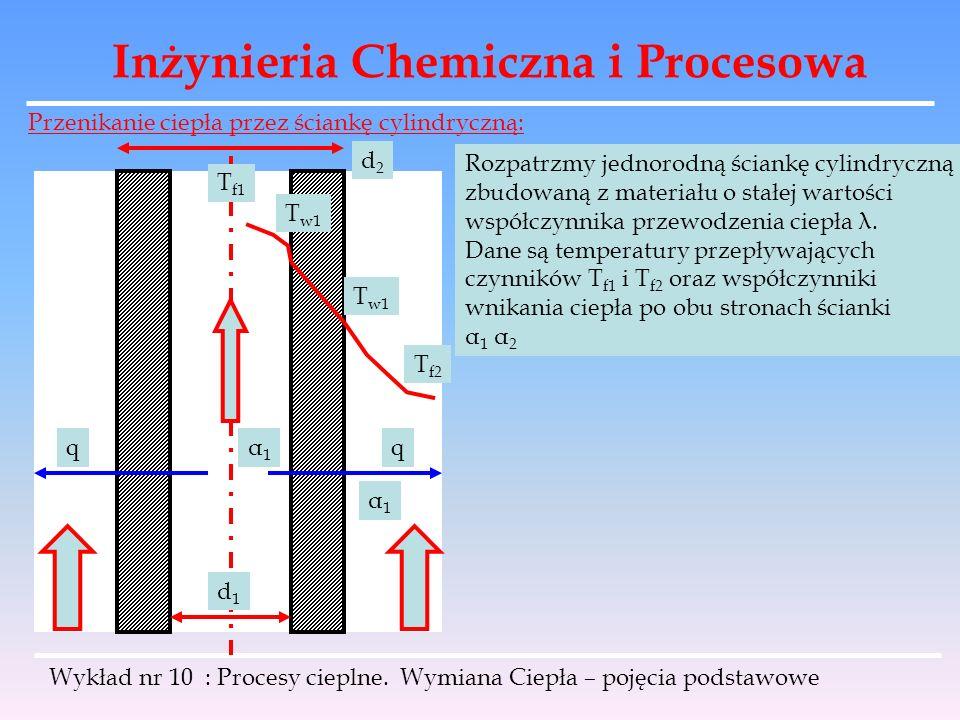 Inżynieria Chemiczna i Procesowa Wykład nr 10 : Procesy cieplne. Wymiana Ciepła – pojęcia podstawowe Przenikanie ciepła przez ściankę cylindryczną: d1