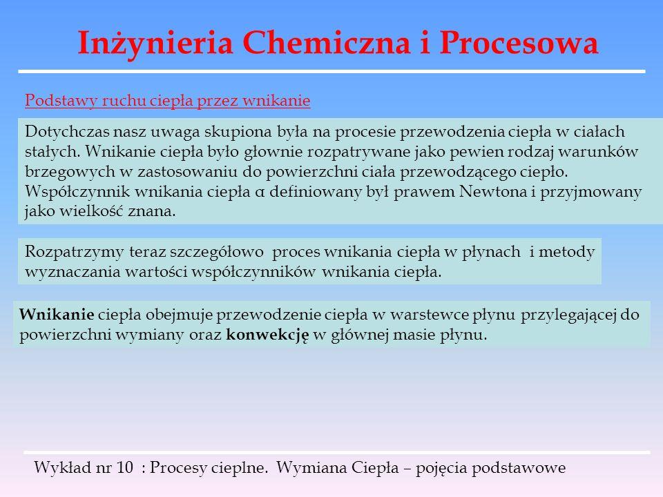 Inżynieria Chemiczna i Procesowa Wykład nr 10 : Procesy cieplne. Wymiana Ciepła – pojęcia podstawowe Podstawy ruchu ciepła przez wnikanie Dotychczas n