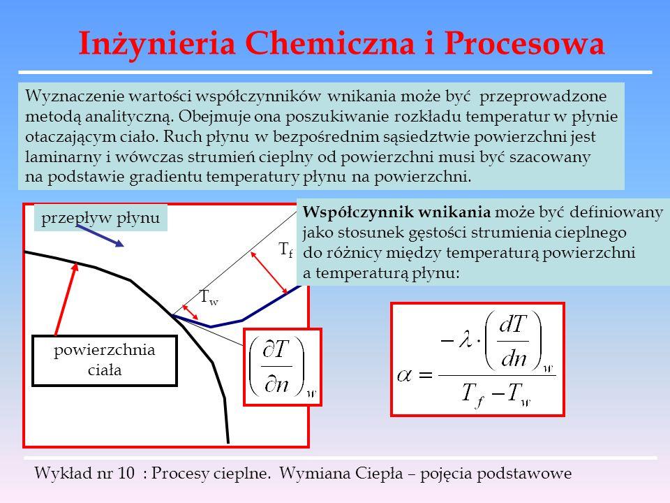 Inżynieria Chemiczna i Procesowa Wykład nr 10 : Procesy cieplne. Wymiana Ciepła – pojęcia podstawowe Wyznaczenie wartości współczynników wnikania może