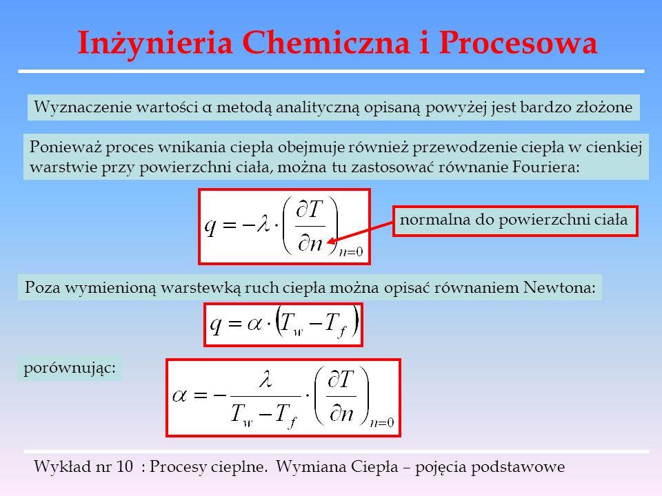 Inżynieria Chemiczna i Procesowa Wykład nr 10 : Procesy cieplne. Wymiana Ciepła – pojęcia podstawowe Wyznaczenie wartości α metodą analityczną opisaną