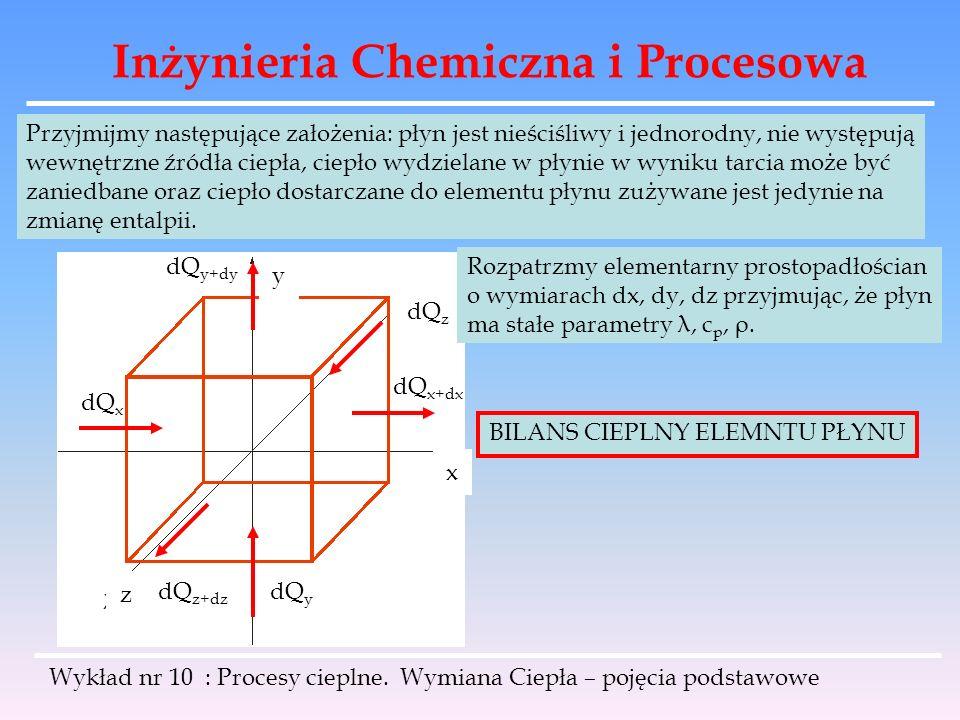 Inżynieria Chemiczna i Procesowa Wykład nr 10 : Procesy cieplne. Wymiana Ciepła – pojęcia podstawowe Przyjmijmy następujące założenia: płyn jest nieśc