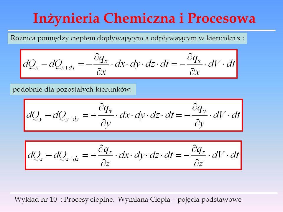 Inżynieria Chemiczna i Procesowa Wykład nr 10 : Procesy cieplne. Wymiana Ciepła – pojęcia podstawowe Różnica pomiędzy ciepłem dopływającym a odpływają