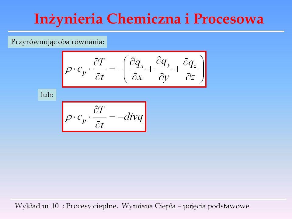 Inżynieria Chemiczna i Procesowa Wykład nr 10 : Procesy cieplne. Wymiana Ciepła – pojęcia podstawowe Przyrównując oba równania: lub: