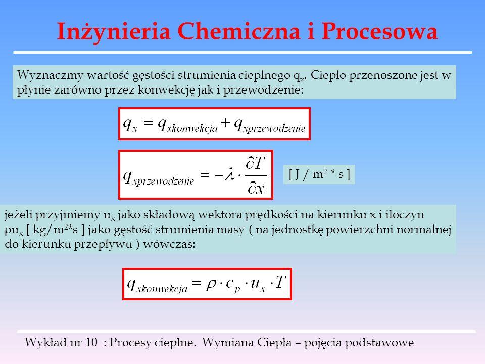 Inżynieria Chemiczna i Procesowa Wykład nr 10 : Procesy cieplne. Wymiana Ciepła – pojęcia podstawowe Wyznaczmy wartość gęstości strumienia cieplnego q