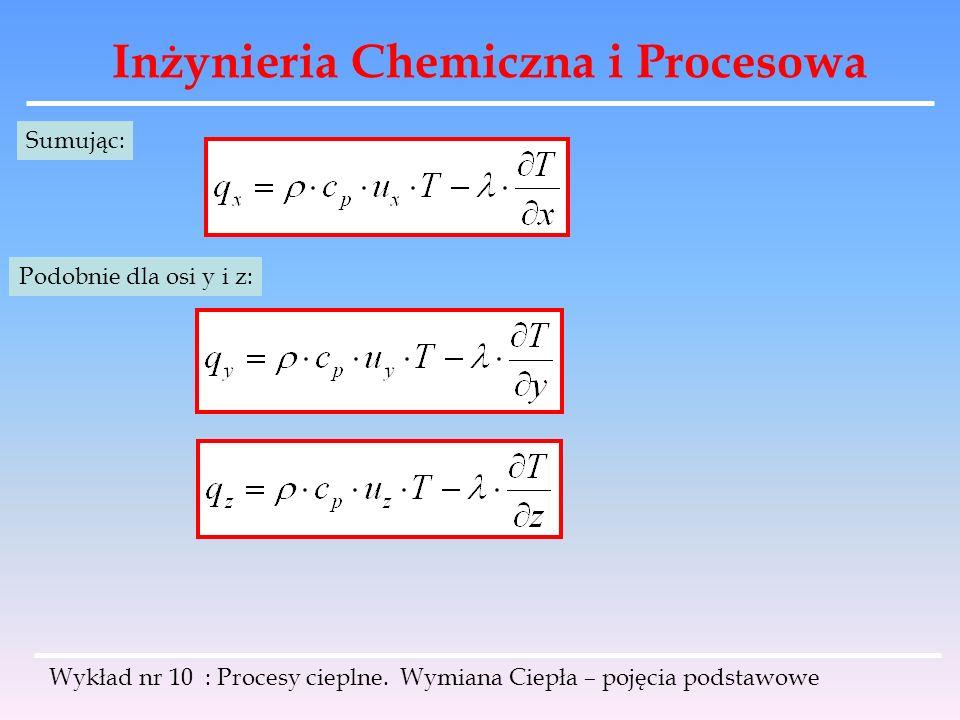 Inżynieria Chemiczna i Procesowa Wykład nr 10 : Procesy cieplne. Wymiana Ciepła – pojęcia podstawowe Sumując: Podobnie dla osi y i z: