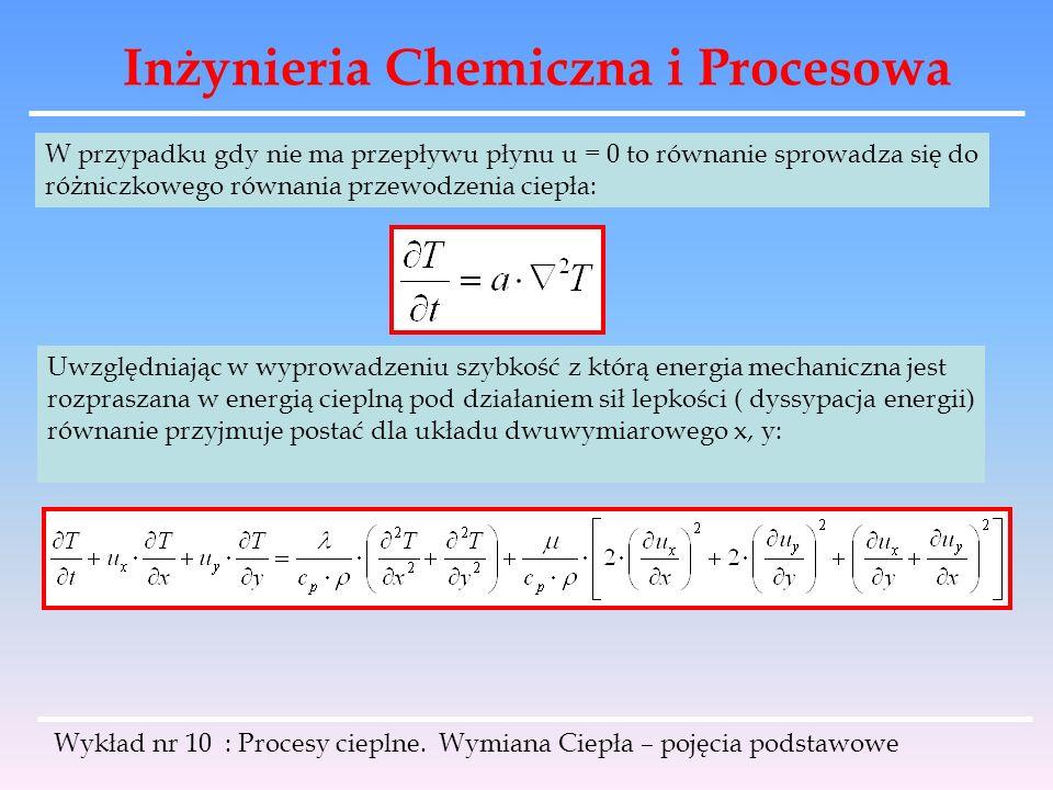 Inżynieria Chemiczna i Procesowa Wykład nr 10 : Procesy cieplne. Wymiana Ciepła – pojęcia podstawowe W przypadku gdy nie ma przepływu płynu u = 0 to r